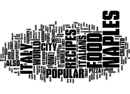 ナポリ イタリア テキスト背景単語雲概念から料理のレシピ  イラスト・ベクター素材
