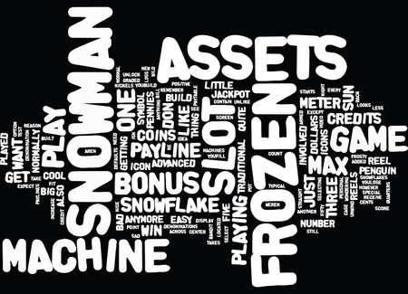 FROZEN ASSETS SLOT MACHINE Text Background Word Cloud Concept