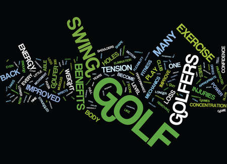 GOLF EXERCISE BENEFITS Text Background Word Cloud Concept