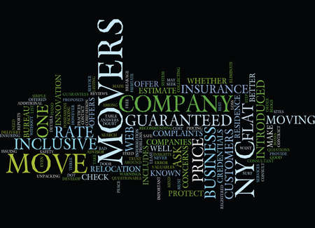FLAT RATE MOVERS IN NYC Text Background Word Cloud Concept Ilustração