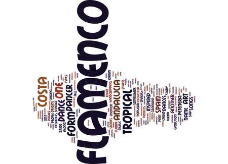 コスタリカ熱帯アンダルシア テキスト背景単語雲概念でフラメンコを学ぶ