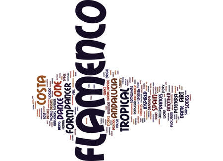 FLAMENCO IN COSTA TROPICAL ANDALUCIA Text Background Word Cloud Concept