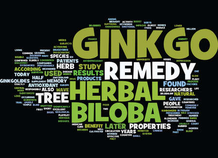 GINKGO BILOBA HERBAL REMEDY Text Background Word Cloud Concept