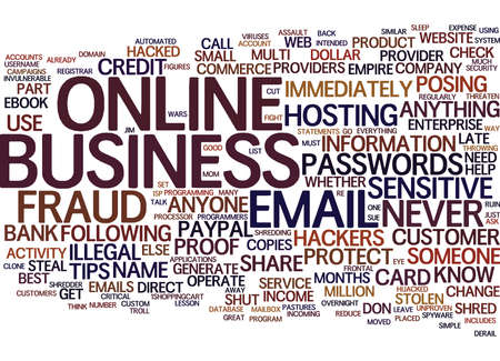 shareware: FRAUD PROOF YOUR ONLINE BUSINESS Text Background Word Cloud Concept