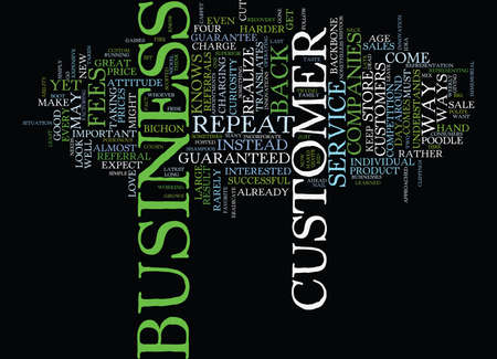FOUR GOOD WAYS TO GUARANTEE REPEAT BUSINESS Text Background Word Cloud Concept