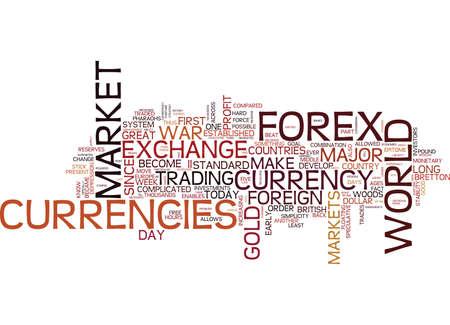 FOREX MARKTGESCHIEDENIS IS EEN DEEL VAN HET Tekstachtergrond Word Cloud Concept