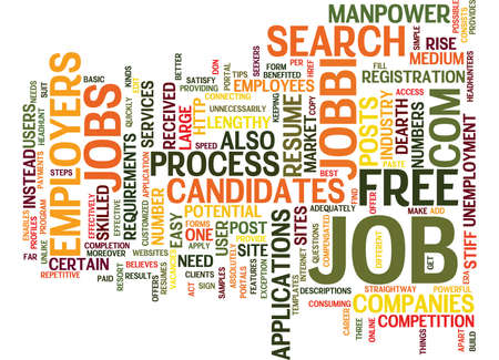FREE JOB SITE Text Background Word Cloud Concept