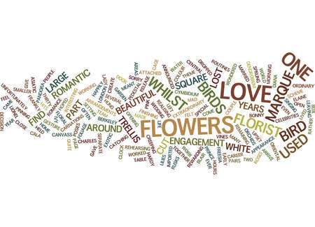 sprung: FLORAL ENGAGEMENT AND LOST LOVE BIRDS Text Background Word Cloud Concept