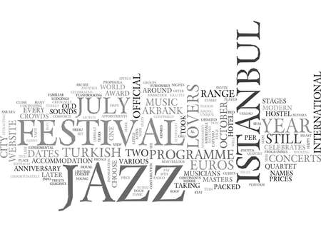ISTANBUL VOOR JAZZ LOVERS Tekstachtergrond Word Cloud Concept