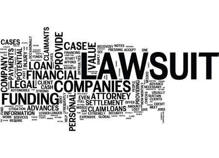LAWSUIT LOAN COMPANIES Text Hintergrund Word Cloud-Konzept Vektorgrafik