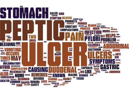 LEARN ABOUT PEPTIC ULCER Text Background Word Cloud Concept Illustration