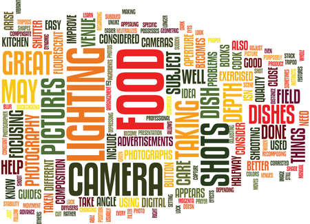 LEARN HOW TO TAKE GREAT FOOD PHOTOGRAPHS Text Background Word Cloud Concept 向量圖像