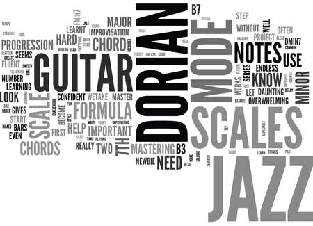 JAZZ GUITAR SCALES COMMON SCALES USED IN JAZZ GUITAR PART Text Background Word Cloud Concept