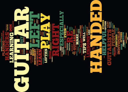 LEARN TO PLAY GUITAR FOR LEFT HANDERS Text Background Word Cloud Concept Ilustração