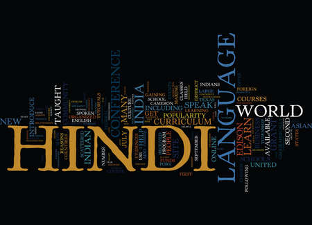 LEER HINDI TAAL ONLINE Tekst Achtergrond Word Cloud Concept Stock Illustratie