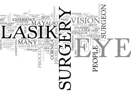 IS LASIK EYE SURGERY FOR YOU OR ARE YOU TOO SQEEMISH Text Background Word Cloud Concept