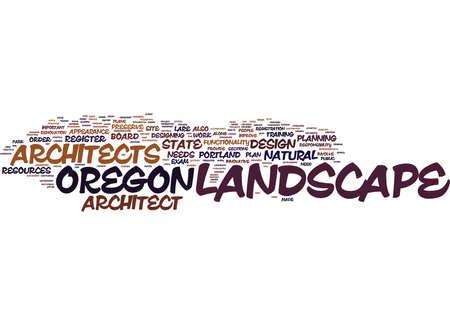 LANDSCAPE ARCHITECT IN OREGON Text Background Word Cloud Concept Ilustração