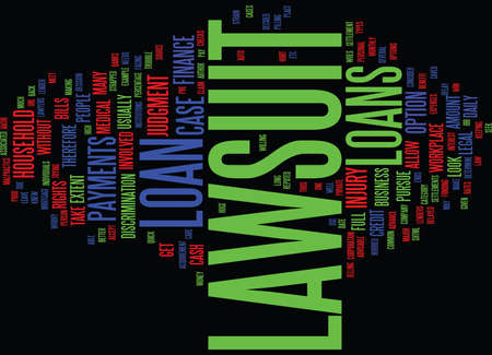 strapped: LAWSUIT LOAN Text Background Word Cloud Concept Illustration