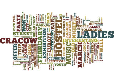 LADIES HEAD TO CRACOW Text Background Word Cloud Concept Illustration