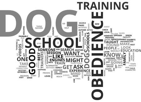 IS DOG OBEDIENCE SCHOOL FOR YOU Text Background Word Cloud Concept Illustration