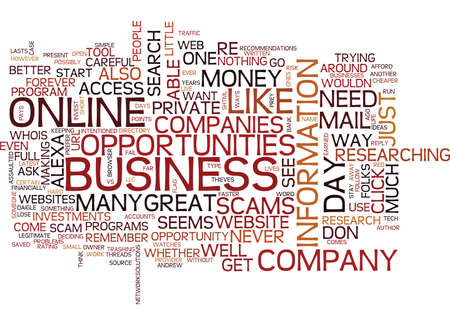 GREAT ONLINE BUSINESS OPPORTUNITIES VS OUTRIGHT SCAMS Text Background Word Cloud Concept