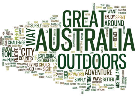 GREAT OUTDOORS AUSTRALIA Text Background Word Cloud Concept