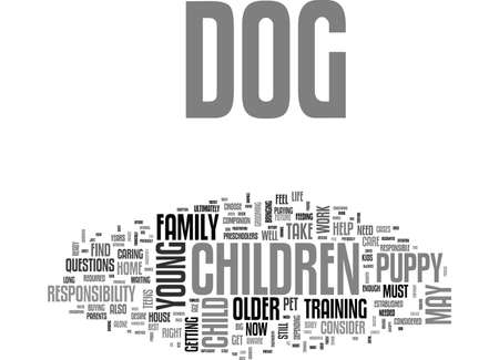 IS YOUR CHILD READY FOR A DOG Text Background Word Cloud Concept Иллюстрация