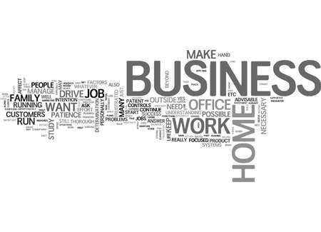 IT IS POSSIBLE TO RUN A HOME BUSINESS AND WORK AT THE OFFICE Text Background Word Cloud Concept 向量圖像