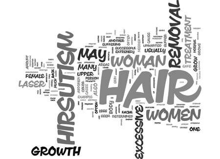 LASER HAIR REMOVAL AND FEMALE HIRSUTISM Text Background Word Cloud Concept Ilustração