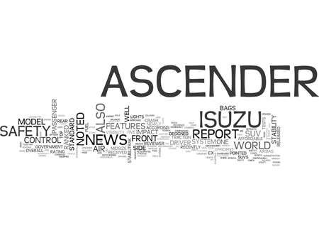ISUZU ASCENDER RANKED HIGH ON SAFETY Text Background Word Cloud Concept Ilustração
