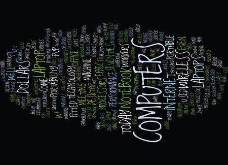 LAPTOP COMPUTERS AND THE PVP EFFECT Text Background Word Cloud Concept Ilustração