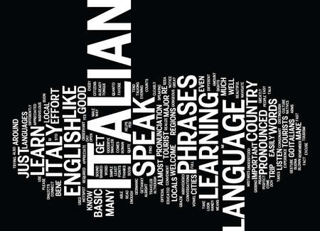LEARN HOW TO SPEAK ITALIAN FOR YOUR ITALIAN GETAWAY Text Background Word Cloud Concept
