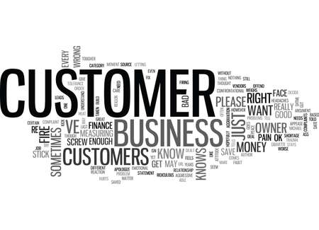 IS IT OK TO FIRE A CUSTOMER Text Background Word Cloud Concept