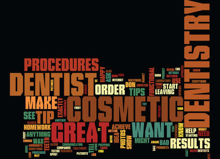 GREAT TIPS FOR YOUR COSMETIC DENTISTRY PROCEDURES Text Background Word Cloud Concept