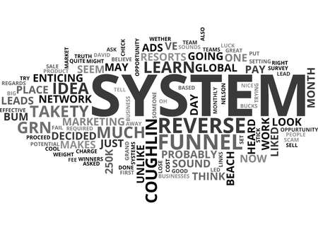IS THE REVERSE FUNNEL SYSTEM A SCAM THE TRUTH Text Background Word Cloud Concept