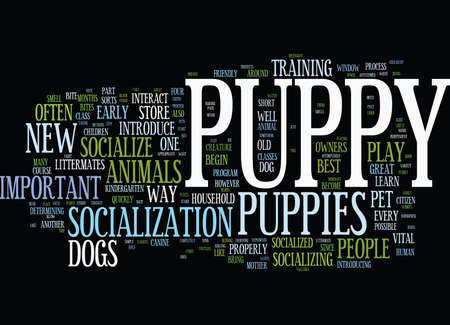 LEARN THE METHODS OF HOW YOUR PUPPY CAN SOCIALIZE AROUND Text Background Word Cloud Concept 向量圖像