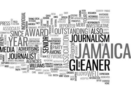 JAMAICA GLEANER Text Background Word Cloud Concept Ilustracja