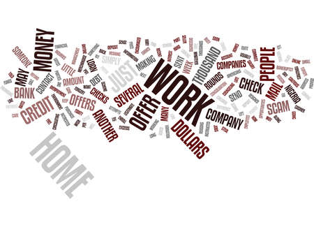 rounds: LATEST WORK FROM HOME OFFER JUST ANOTHER SCAM Text Background Word Cloud Concept Illustration
