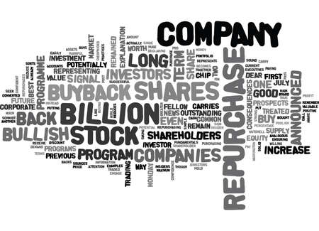 IT S A BULLISH SIGNAL WHEN A COMPANY BUYS BACK IT S OWN SHARES Text Background Word Cloud Concept Stock fotó - 82591795