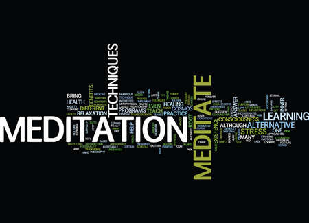 LEARN TO MEDITATE Text Background Word Cloud Concept Illustration