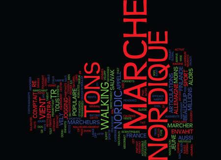 dos: LA MARCHE NORDIQUE ENVAHIT LA FRANCE Text Background Word Cloud Concept