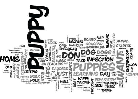 悪い犬の保育は、子犬テキスト背景単語雲概念