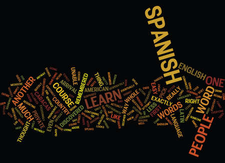 LEARN SPANISH QUICK AND EASY Text Background Word Cloud Concept