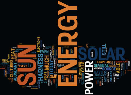 GREAT REASONS TO HARNESS SOLAR POWER Text Background Word Cloud Concept Çizim