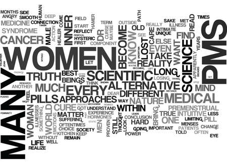 IS YOUR PMS A CURSE THAT PUSHES YOU TO BUY A CURE AT ANY PRICE Text Background Word Cloud Concept Illustration