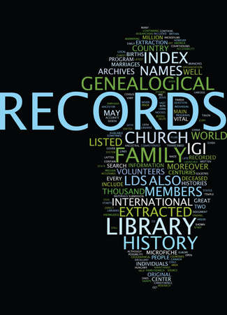 rom: LDS GENEALOGY Text Background Word Cloud Concept