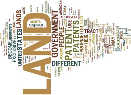 LAND PATENT Text Background Word Cloud Concept Illustration