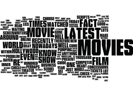 LATEST MOVIES WHAT YOU NEED TO KNOW GUIDE Text Background Word Cloud Concept
