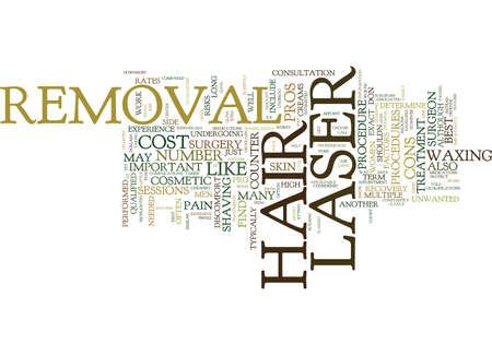 LASER HAIR REMOVAL THE PROS AND CONS Text Background Word Cloud Concept