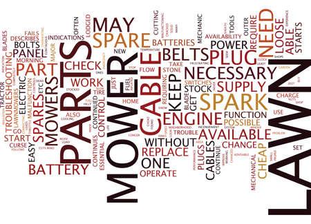LAWN MOWER SPARE PARTS Text Background Word Cloud Concept Ilustração